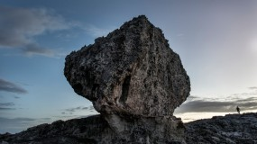 A massive boulder on a coastal ridge in North Eleuthera, the Bahamas.