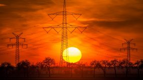 Sunset and power lines