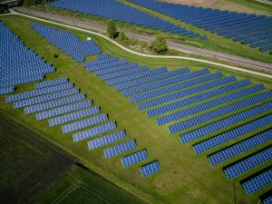 Aerial photo of solar farm
