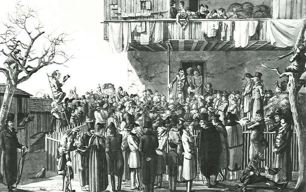 Watercolour by Hieronymus Hess depicting Baroness de Krüdener (in the doorway, with bonnet) greeting crowds in Grenzach-Wyhlen, near Basel