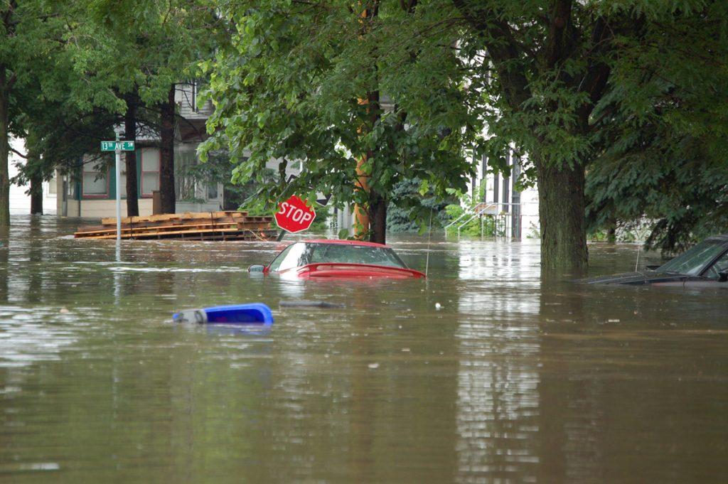Flooded street in Cedar Rapids, IA near 13th Ave. and J Street, Cedar Rapids, IA