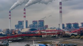 The pier next to China's Biggest coal-fired power plant in Shanghai.