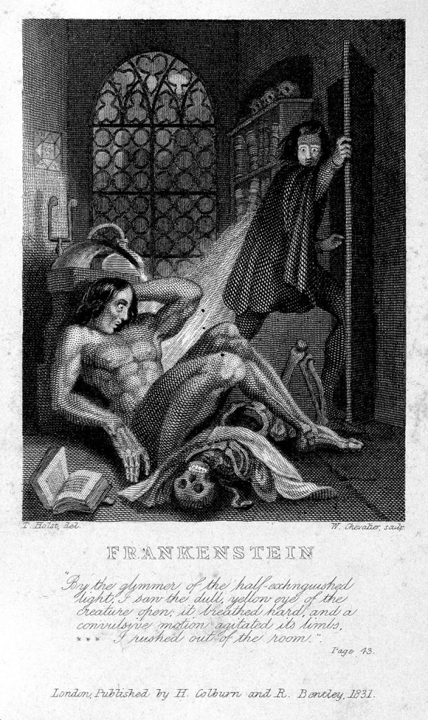 Frankenstein observing the first stirrings of his creature. Engraving by W. Chevalier after Th. von Holst, 1831. Featured as frontispiece to the 1831 edition of Shelley's novel