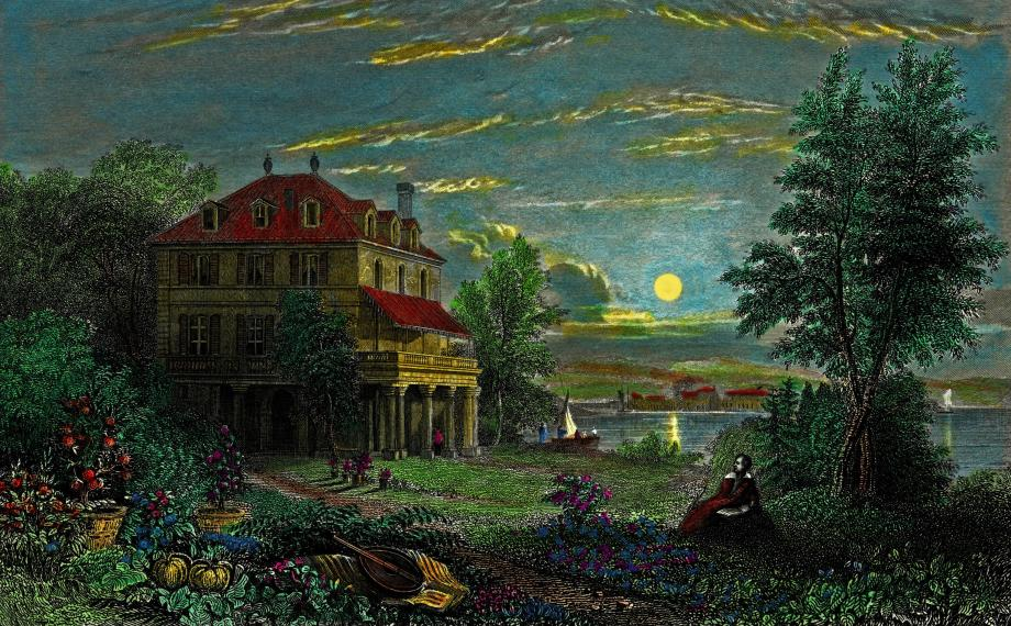 Detail from a hand-colored engraving of Byron's Villa Diodati on the shores of Lake Geneva, by Edward Francis Finden, ca. 1833, after a drawing by William Purser