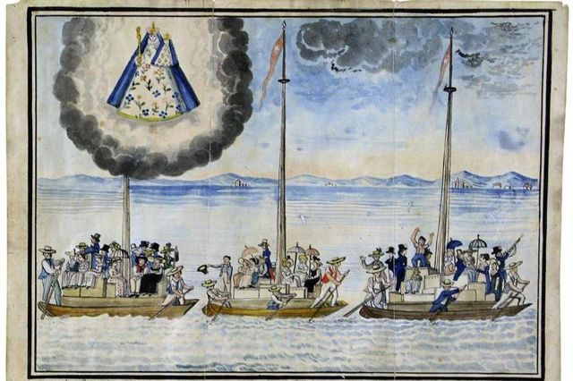 Votive painting from 1819 depicting emigrants from Fribourg on Lake Neuchâtel on their way to Brazil via Holland as part of the 1816–17 migrations
