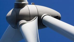 Close up view of the turbine of an eolic energy generator windmill.
