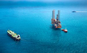 Aerial view of an offshore oil rig platform