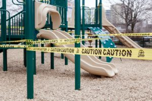 Closed outdoor playground during pandemic in Toronto, Ontartio.