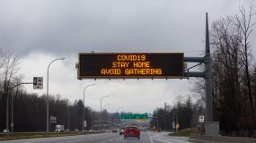 Coronavirus Sign and message to Stay Home on a Trans-Canada Highway.