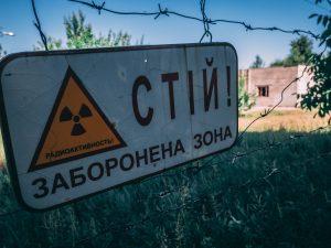 Radiation sign in Chernobyl