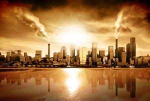 Modern city in smog