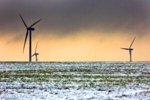 Wind turbines in winter scenery