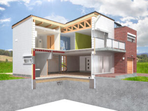 Detailed rendering of a modern house in the section with visible interior infrastructure located in the idyllic natural background