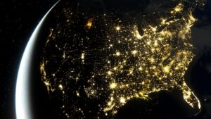 Realistic render of USA at night from space