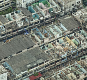 Effects of natural disaster in a residential area of the city - top view