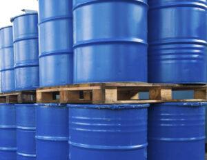 Piled up oil barrels