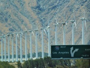 Interstate 10, amid wind turbines at the base of the mountains in the windy area of Palm Springs, California