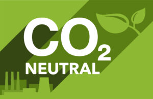 CO2 neutral banner with factory silhouette