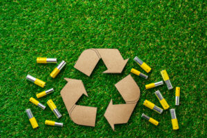 Recycling of used alkaline batteries ecological and environmental concept