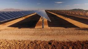 Close up of solar power panels, in desert.