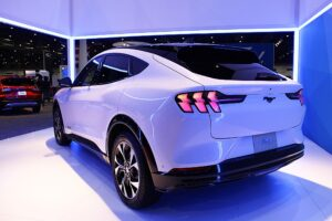 2020 Ford Mustang Mach E, Ford's first ever all-electric vehicle, on display at the 2020 Houston Auto Show